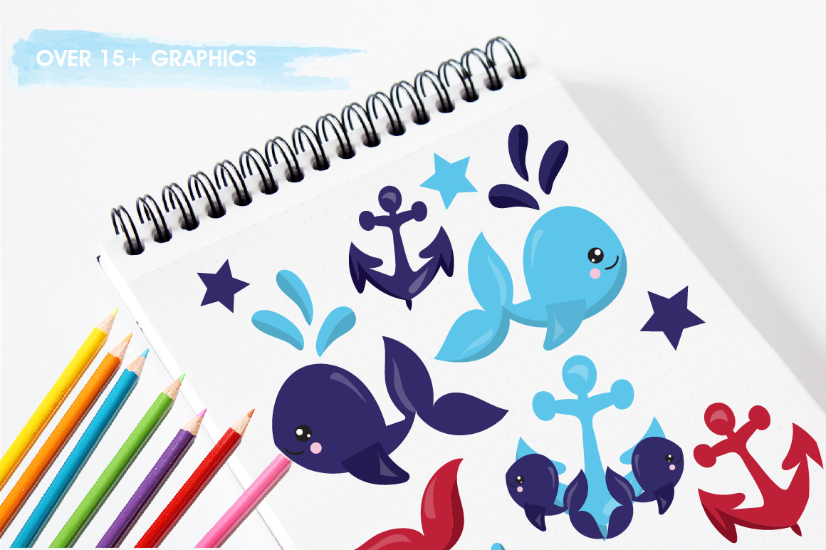 Nautical Whales graphics and illustrations example image 3