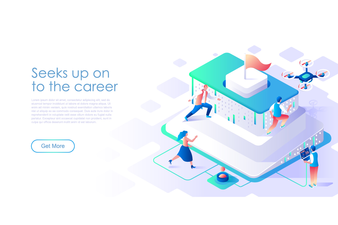 Bundle Isometric Landing Page Template Header example image 20