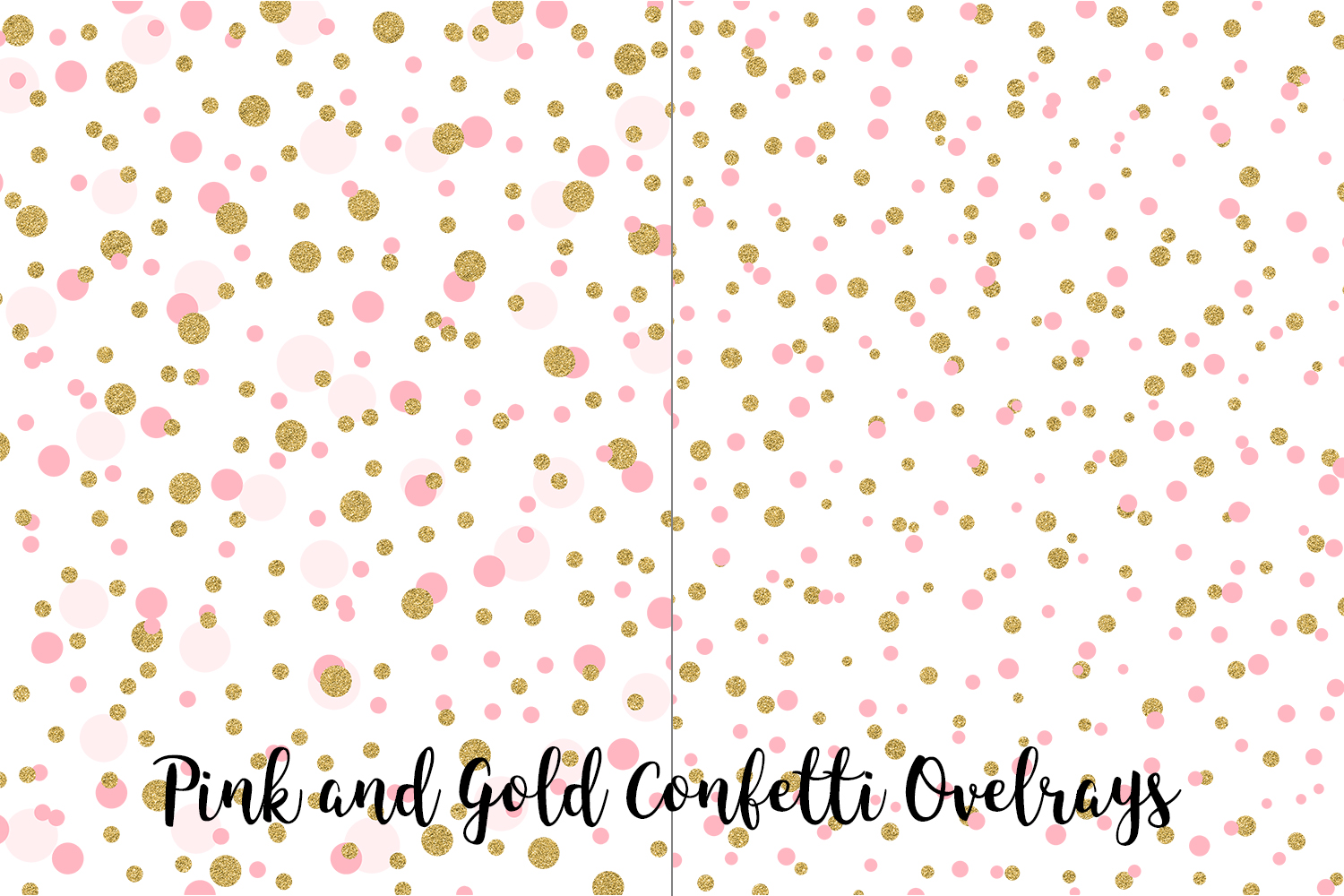 Pink and Gold Confetti Overlays, Transparent PNGs example image 4