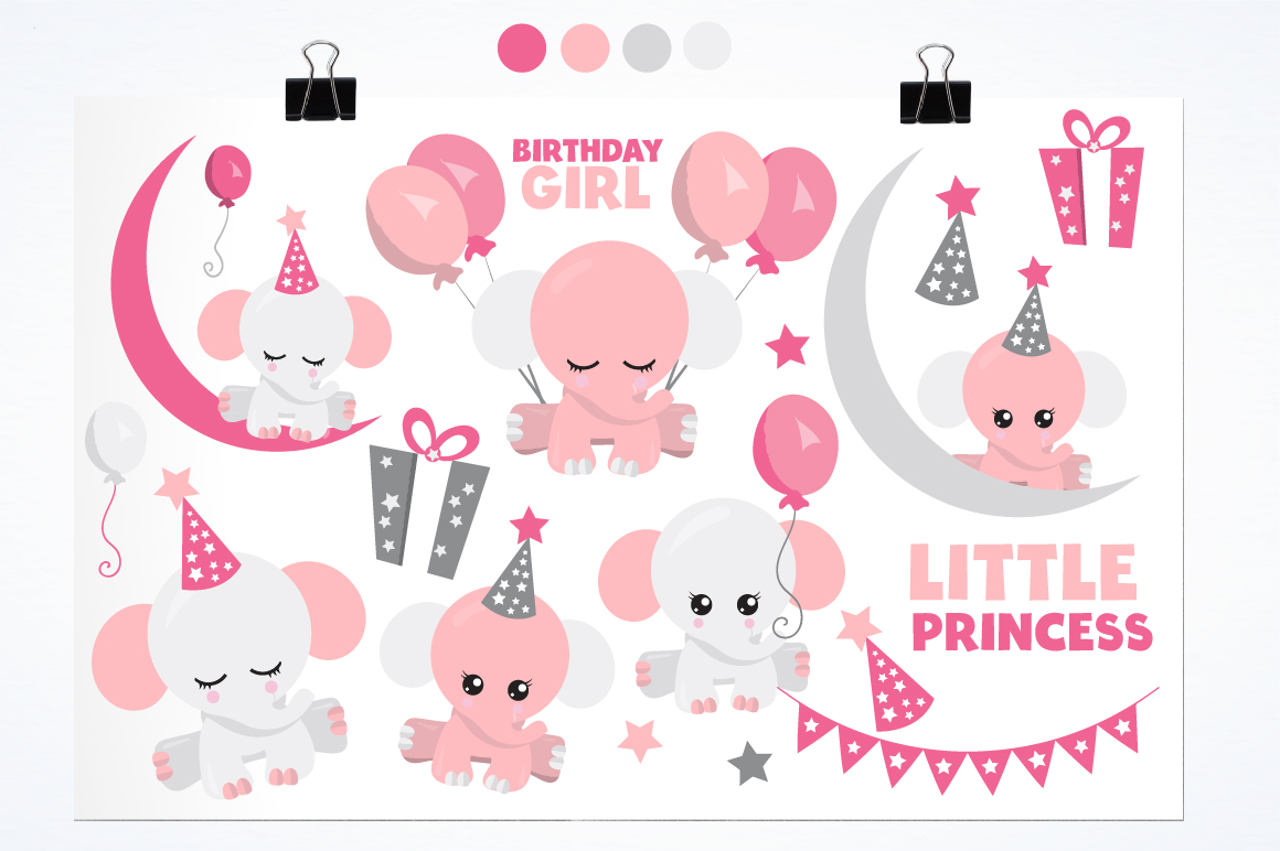 Baby girl Elephant graphics and illustrations example image 2