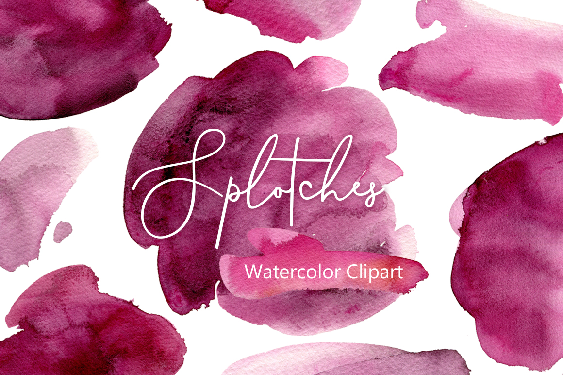 Burgundy Watercolor Splotches Stains PNG example image 1