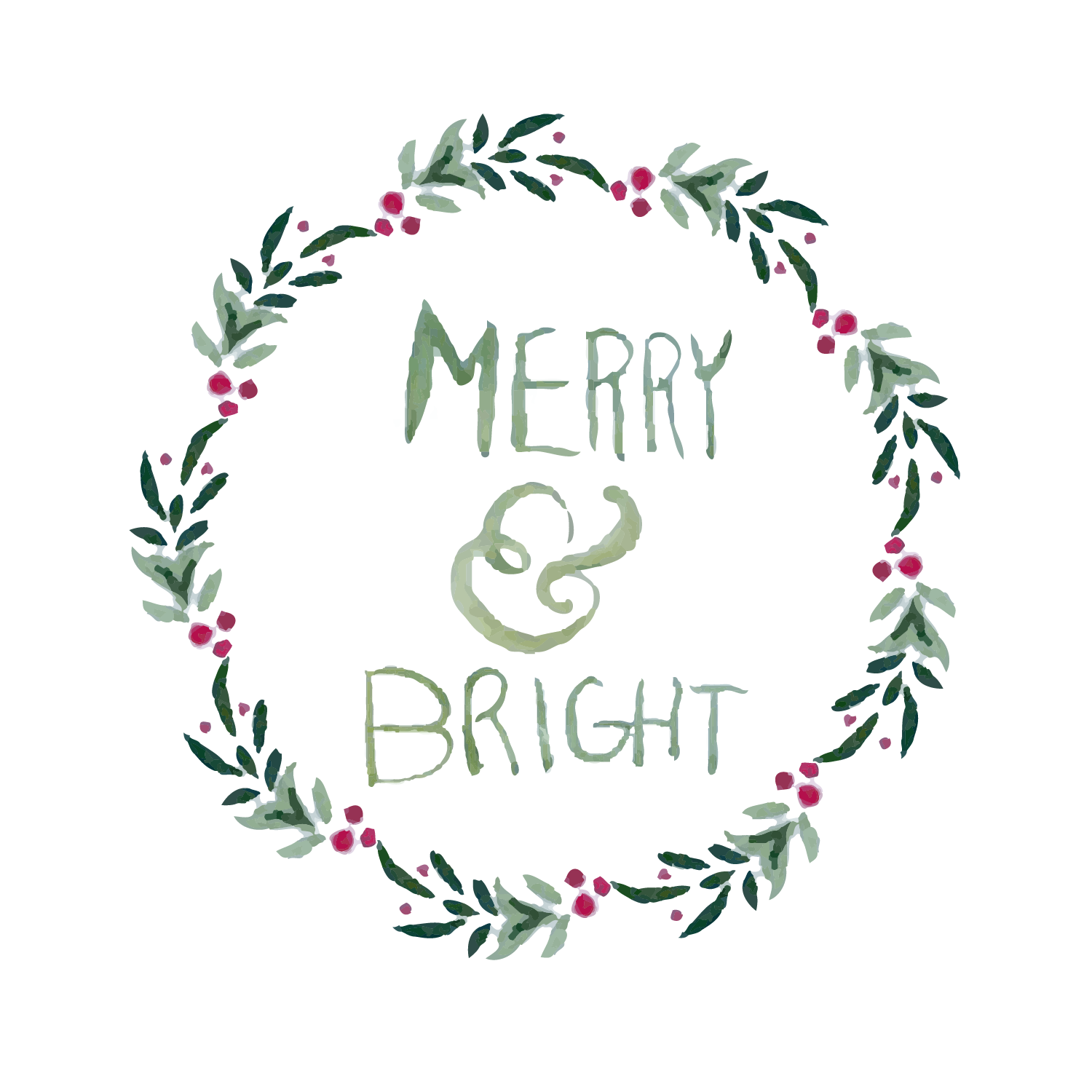 Merry & Bright watercolor clipart example image 3