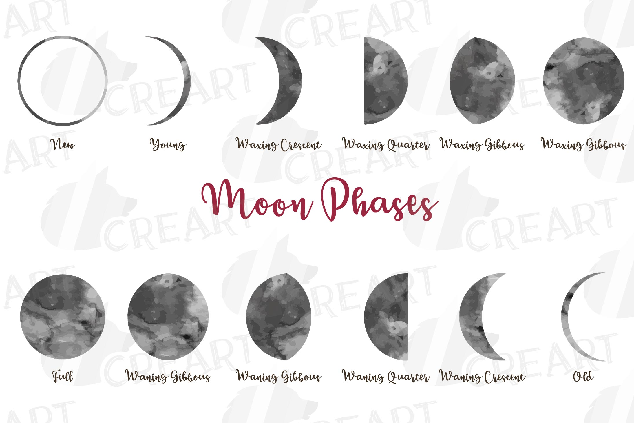 Watercolor space blue and grey Moon Phases clip art pack example image 2