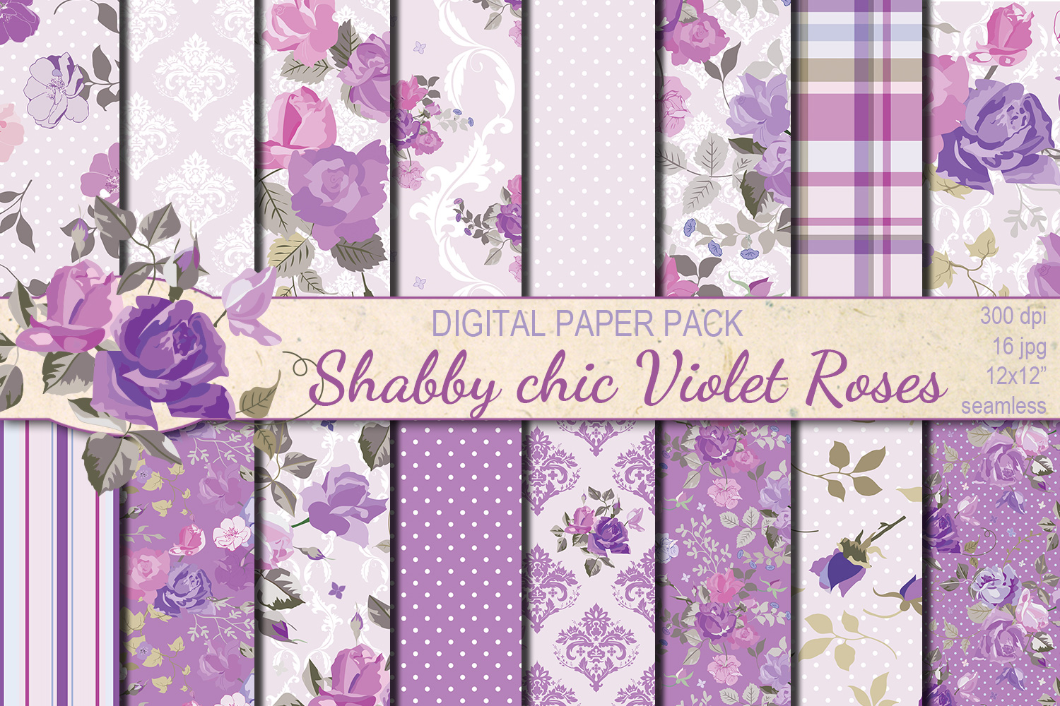 Shabby chic violet roses seamless digital paper pack example image 1