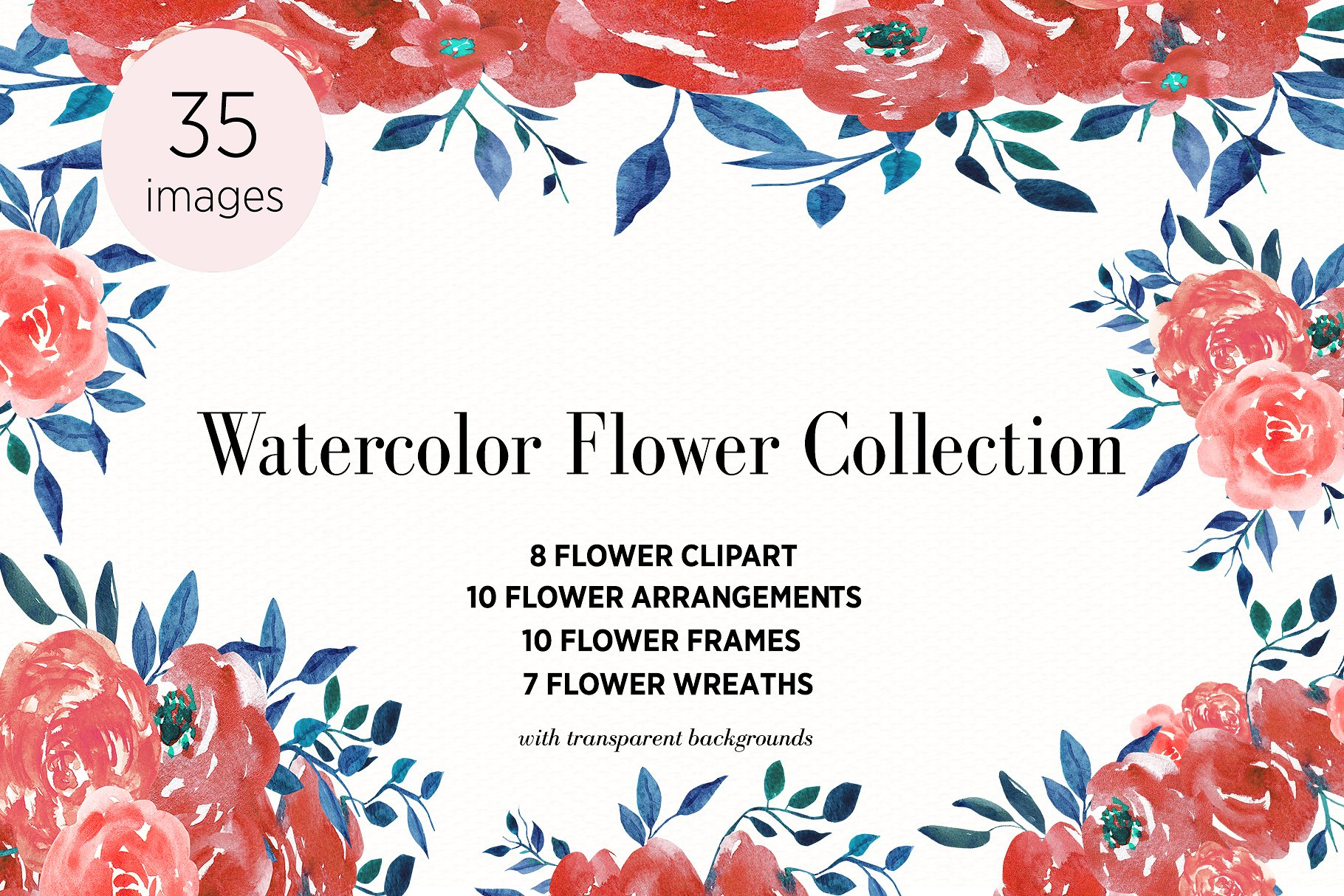 Watercolor Flower Clipart Pink Example Image 1