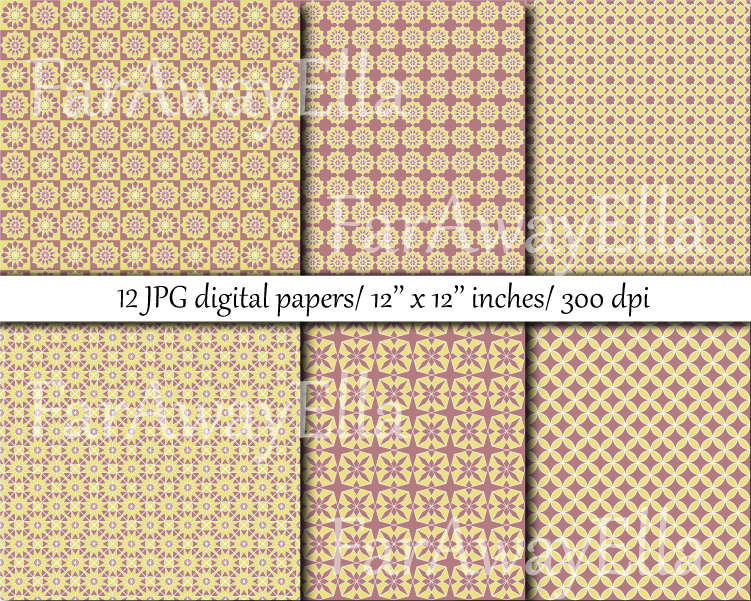 Moroccan yellow/ terracotta digital paper pack | 12 papers example image 2