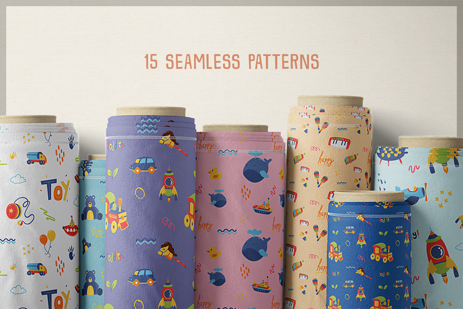 Kid's Toys Vector Cliparts & Seamless Patterns example image 3
