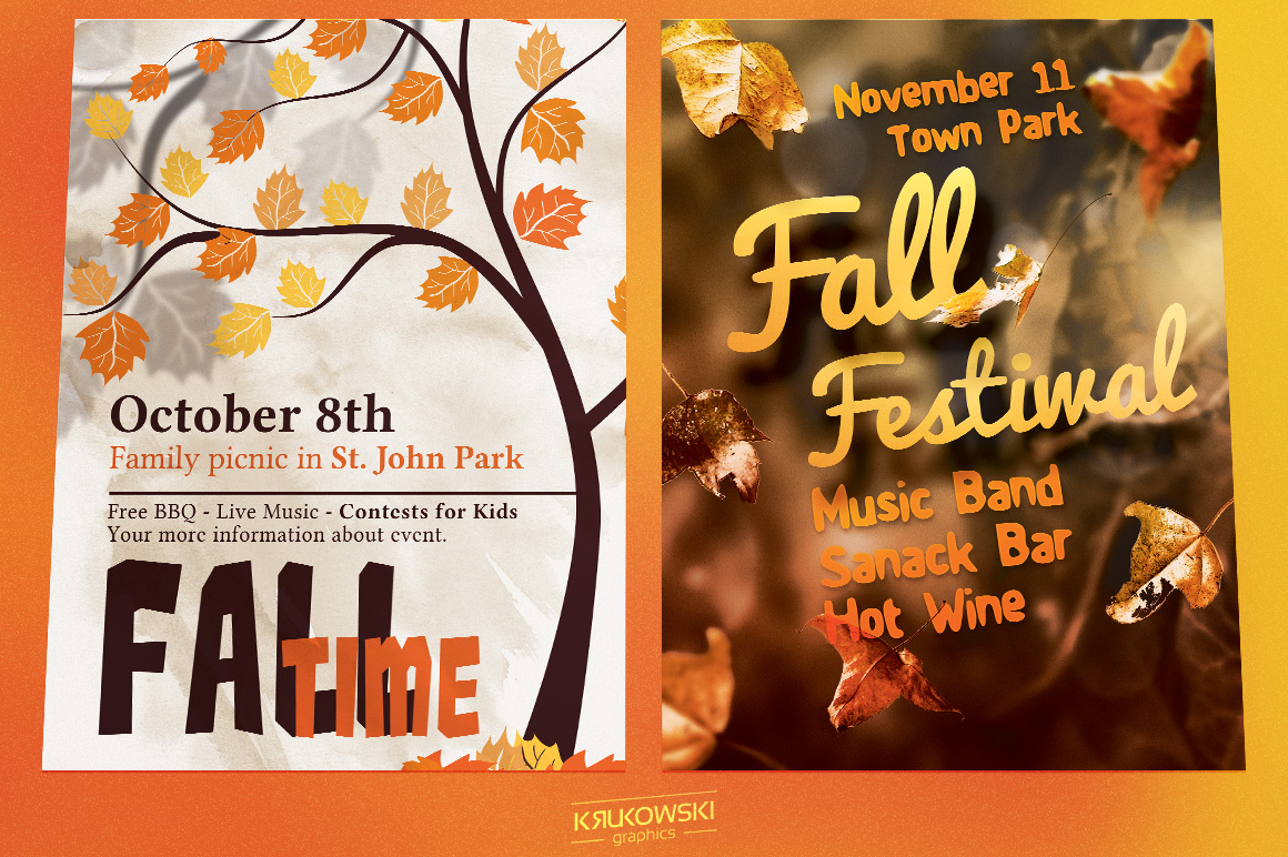 Fall Autumn Flyers Templates example image 3