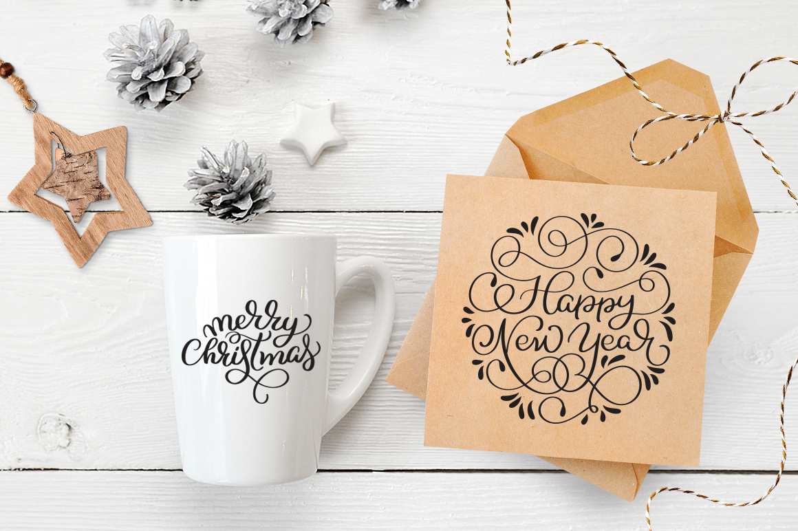 Merry Christmas Quotes and Objects Calligraphy Collection example image 13