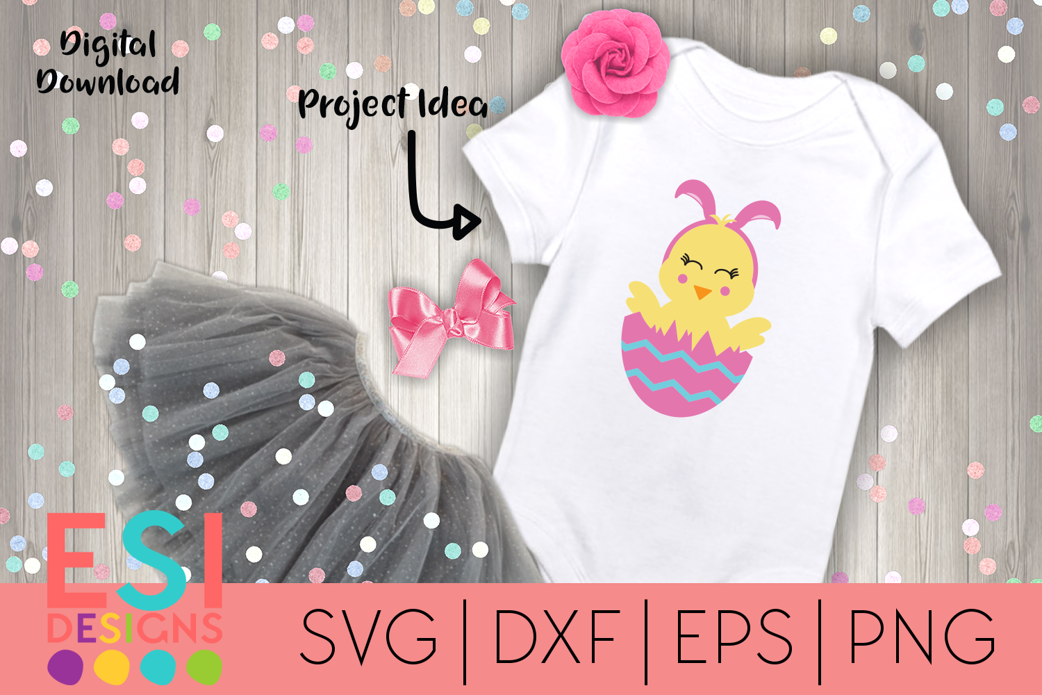 Easter | Cute Chick in Egg with Bunny Ears| SVG DXF EPS PNG example image 1