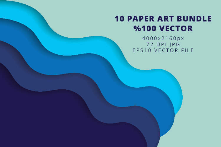 10 Paper Art Design Bundle - Backgrounds - Jpg and Vector example image 4