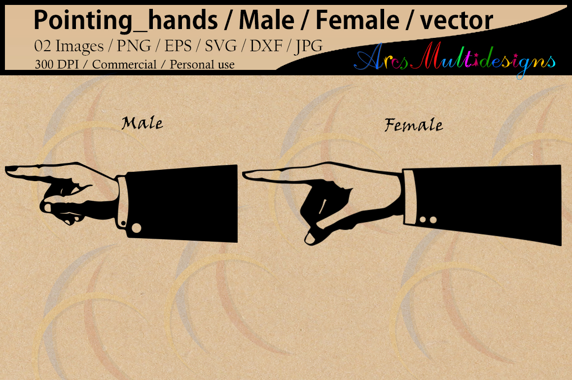 pointing_hands / pointing hands silhouette / male hand / femle hand elements / vector / Png / Eps / Dxf / Svg / Jpg / Commercial use example image 1