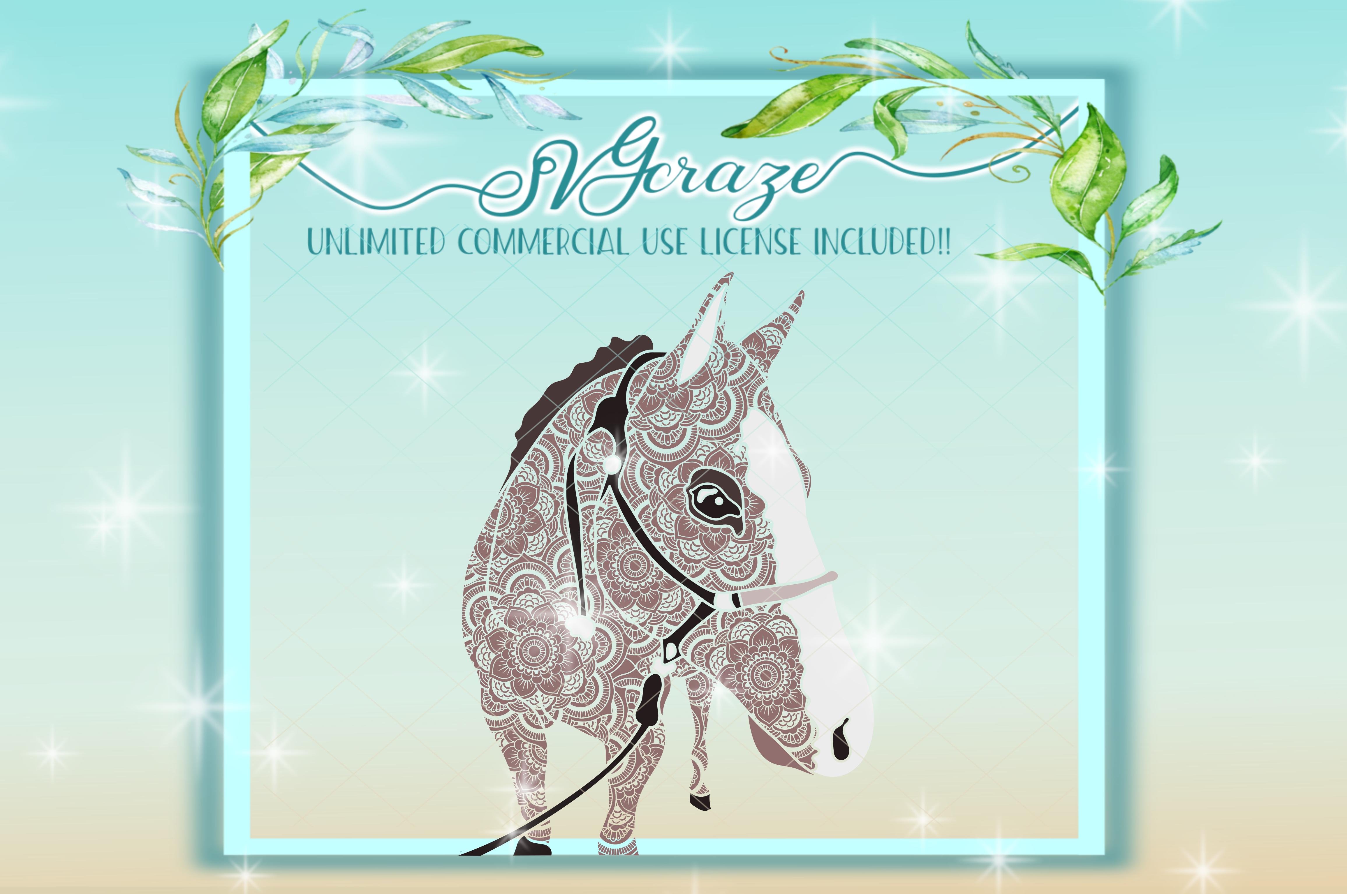 Horse Mandala Zentangle Svg Dxf Files For Cricut example image 4