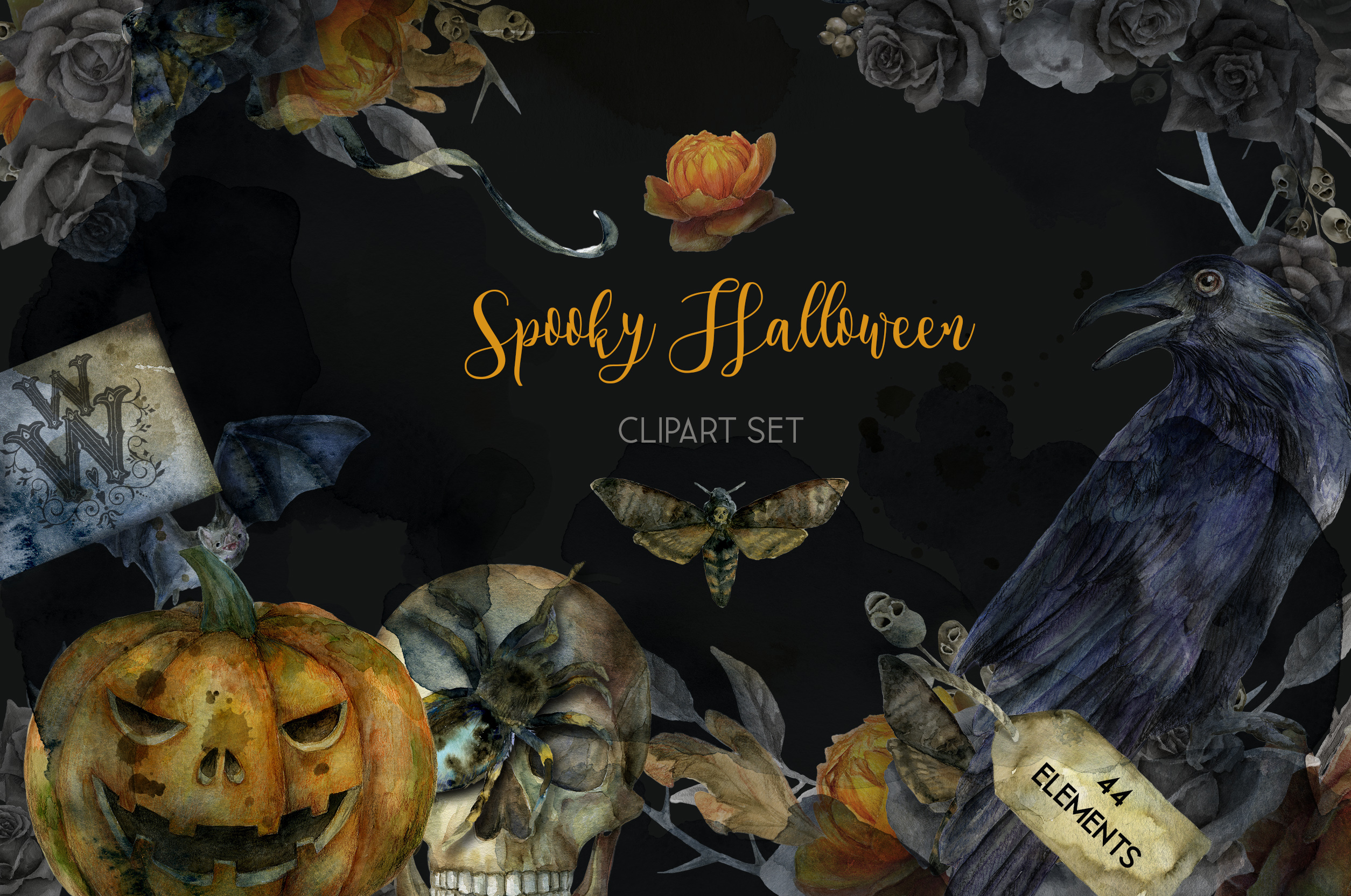 Spooky Halloween watercolor clipart graphics example image 1