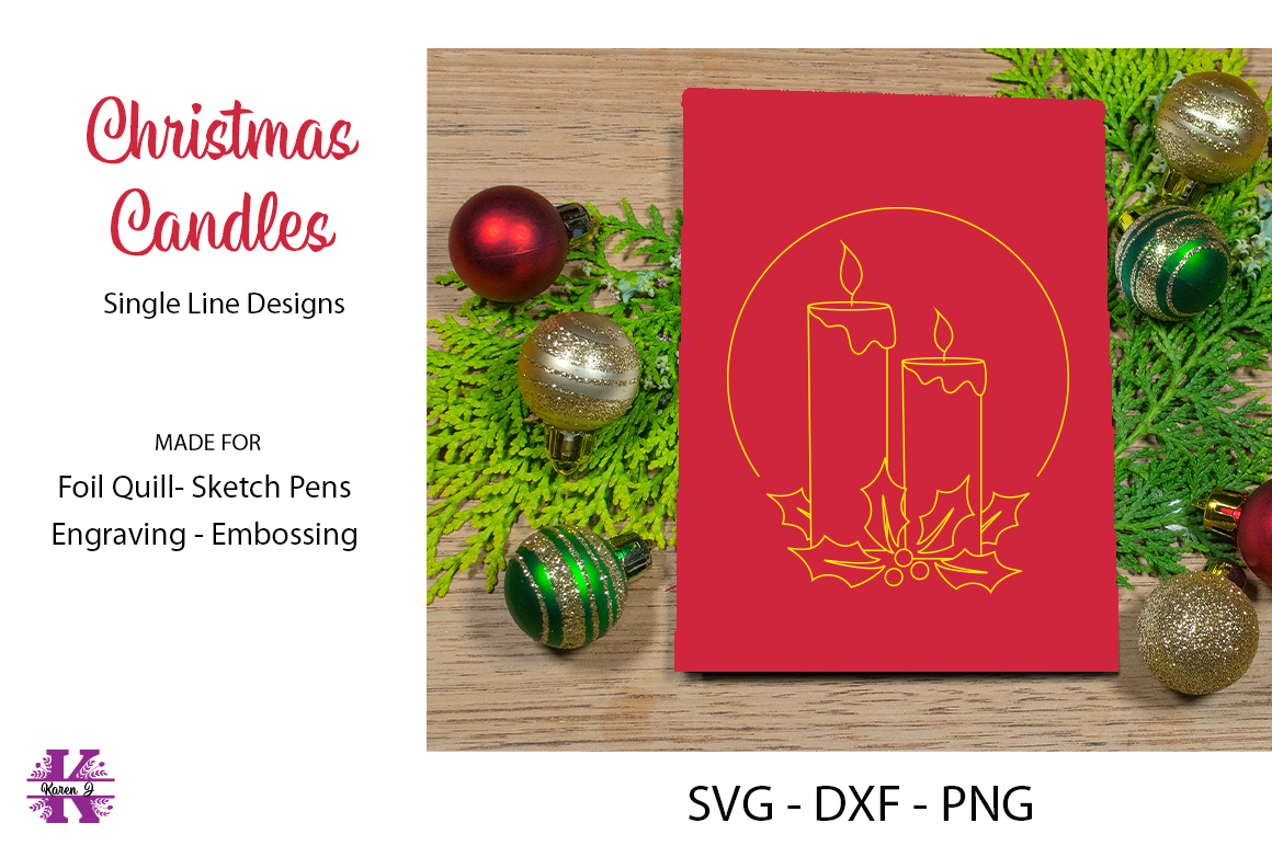 Christmas Candles for Foil quill|Sketch Pen |Engraving example image 1