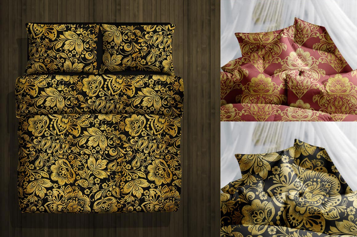 Floral gold seamless pattern. Hohloma. example image 8