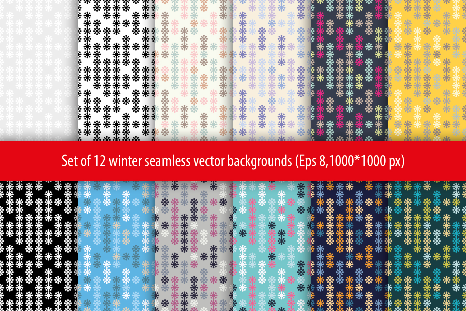Set of 12 seamless backgrounds with decorative snowflakes.  example image 1