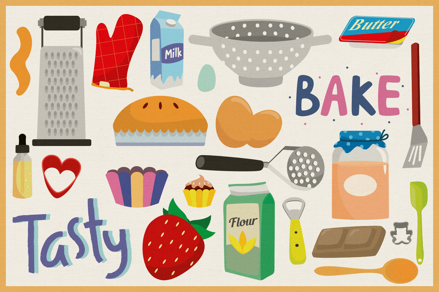 85 Baking and Cooking Vector Clipart & Seamless Patterns example image 4