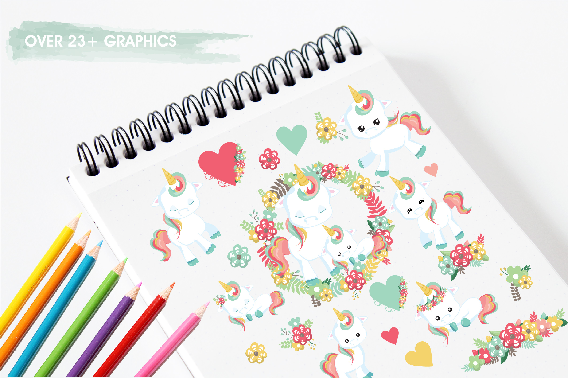 Floral unicorn graphics and illustrations example image 3