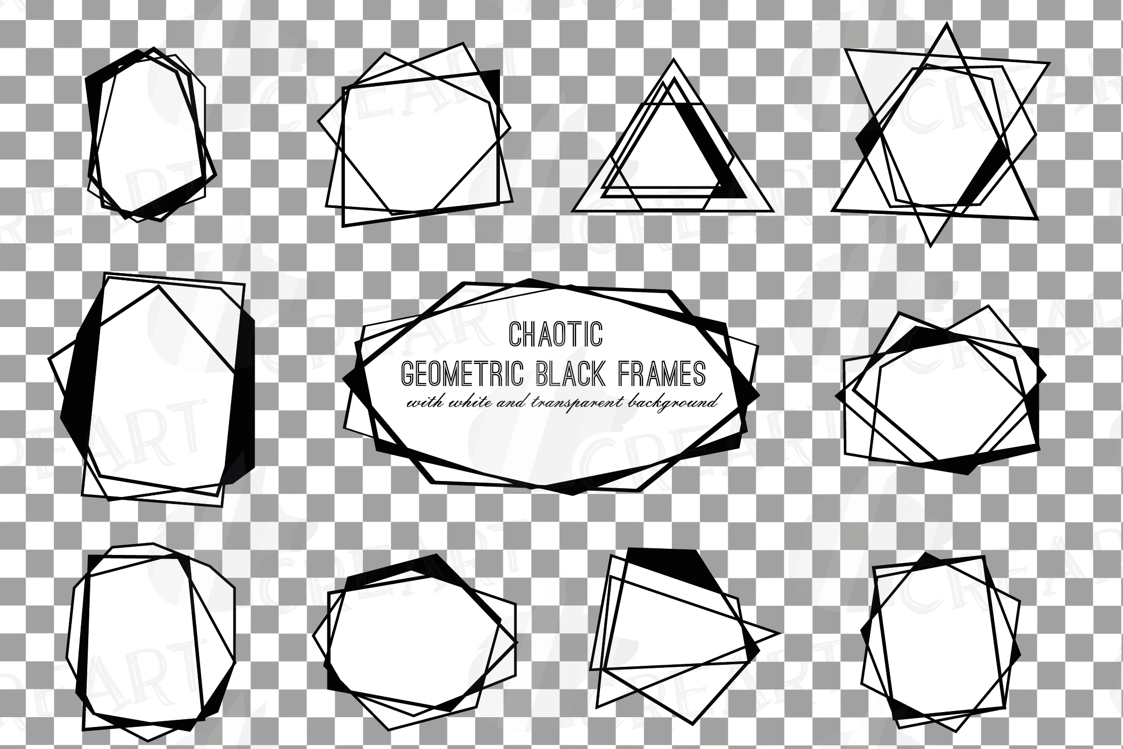 Chaotic geometric black frames, lineal frames clip art example image 2