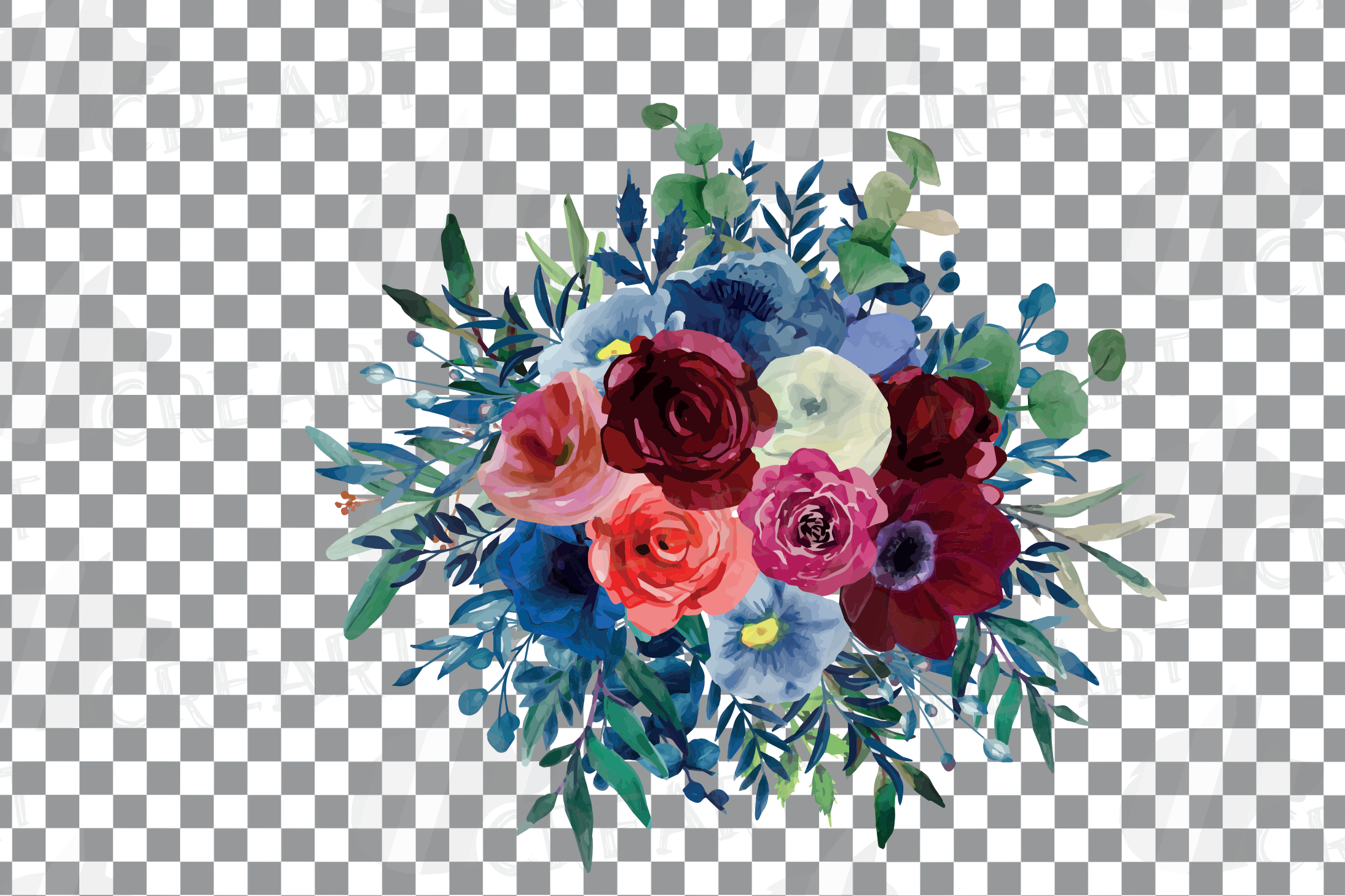 Colorful navy and burgundy floral watercolor wedding bouquet example image 12