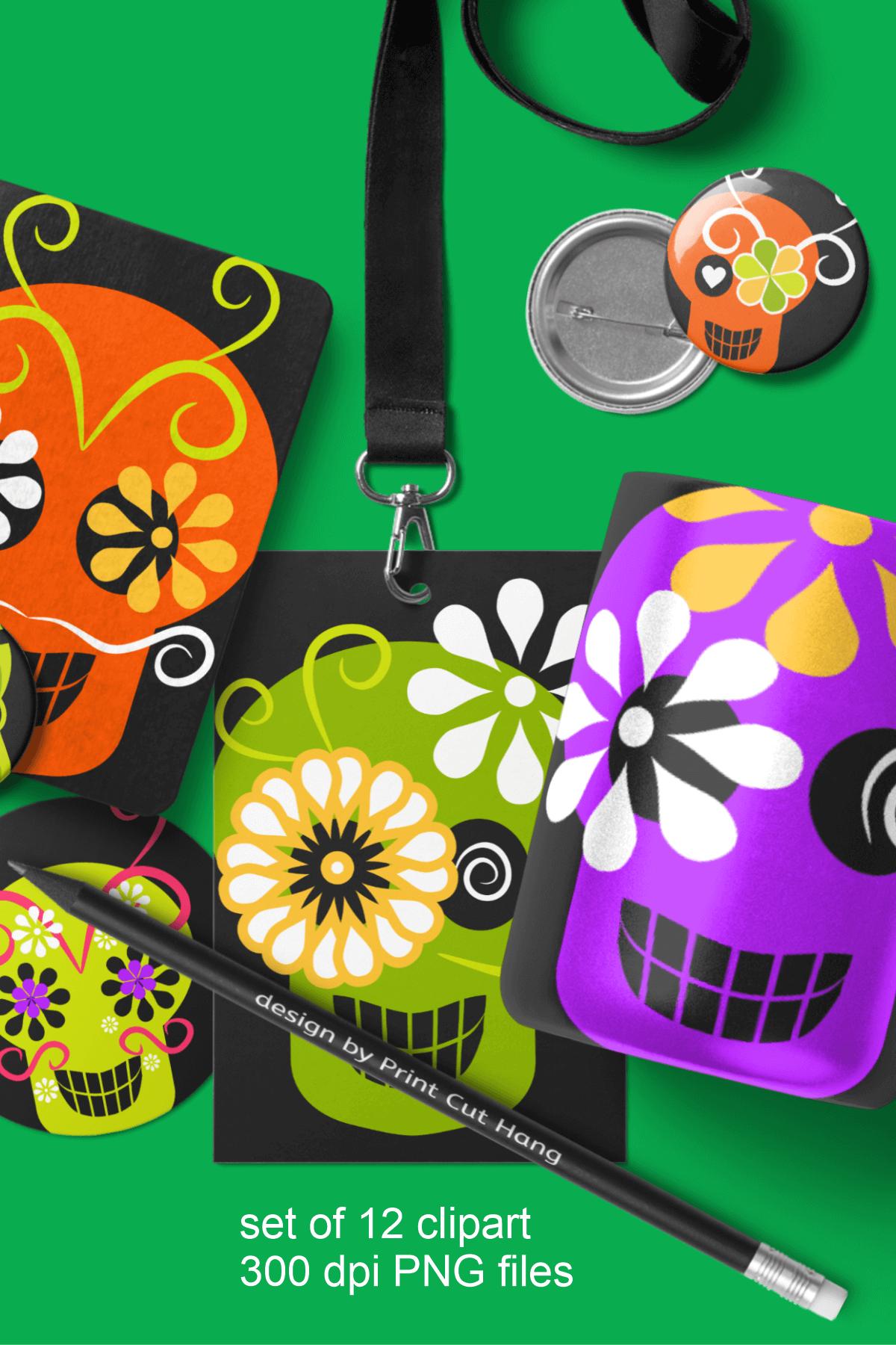Skulls Clipart Set Kids Friendly Look PNG Files example image 4