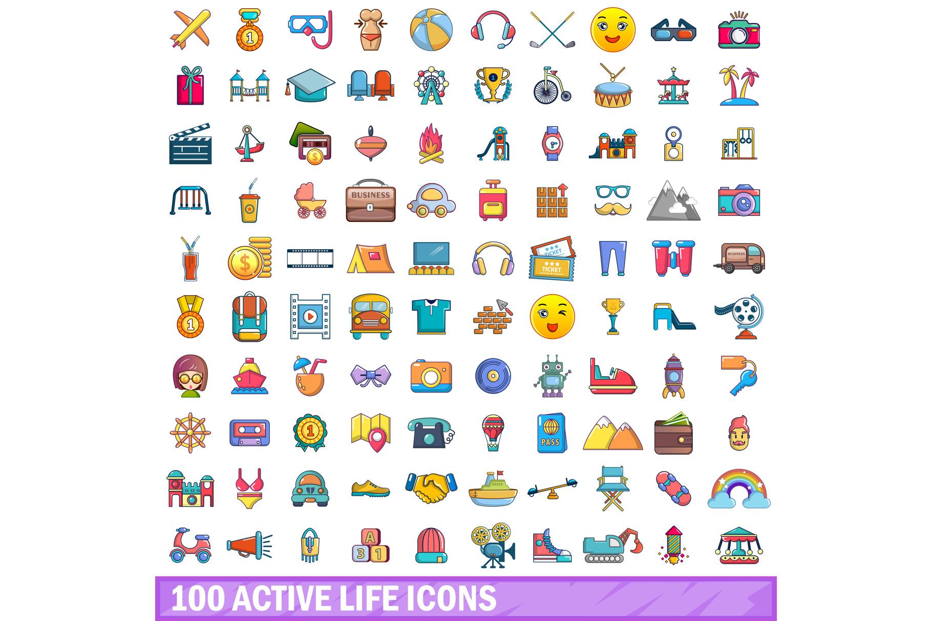 100 active life icons set, cartoon style example image 1