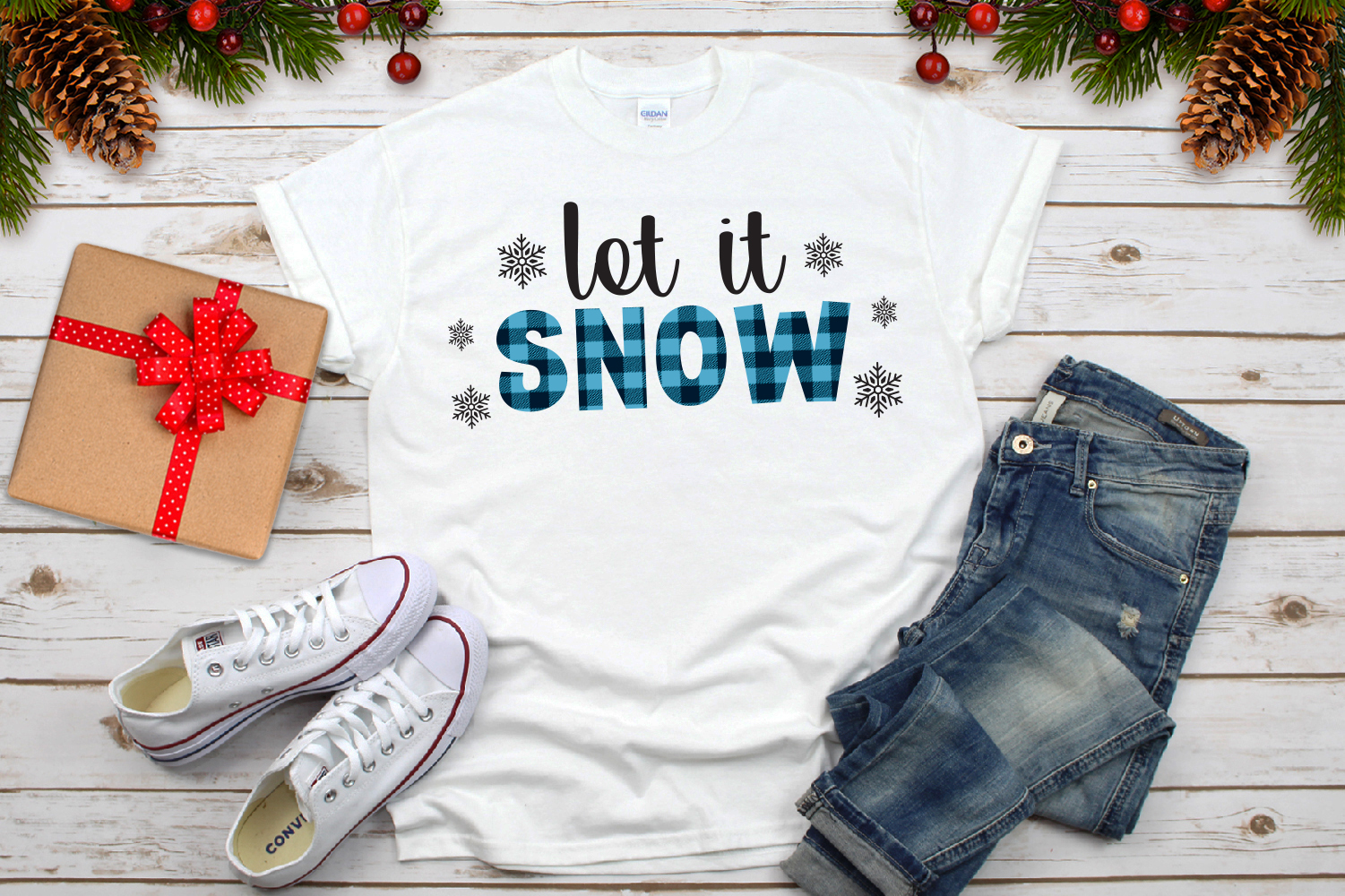 Let It Snow Buffalo Plaid Svg example image 3