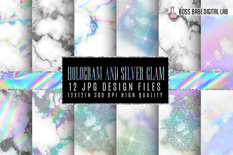 Hologram and Silver Glam Digital Papers example image 1