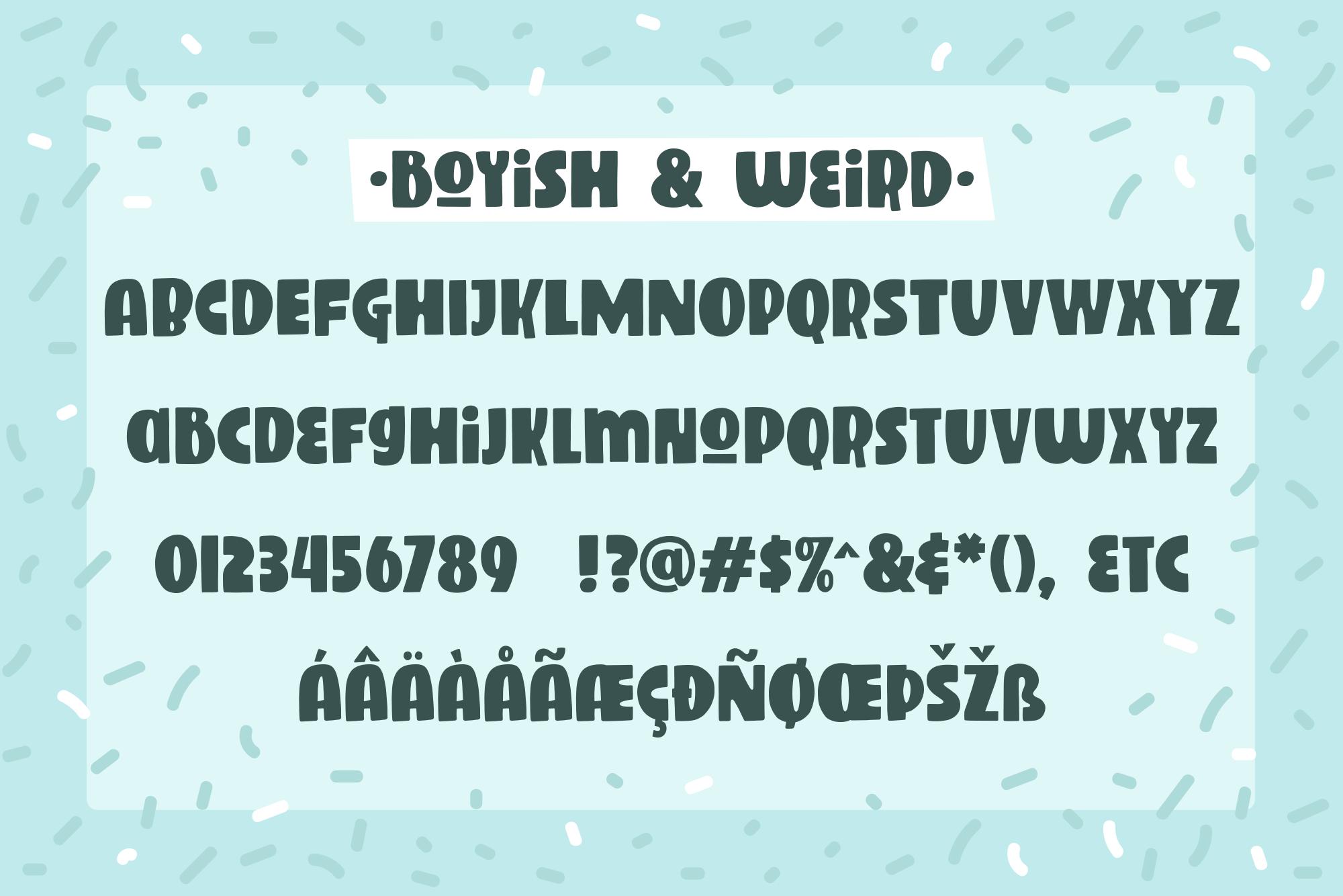 Boyish & Weird, a strange capitals font example image 2