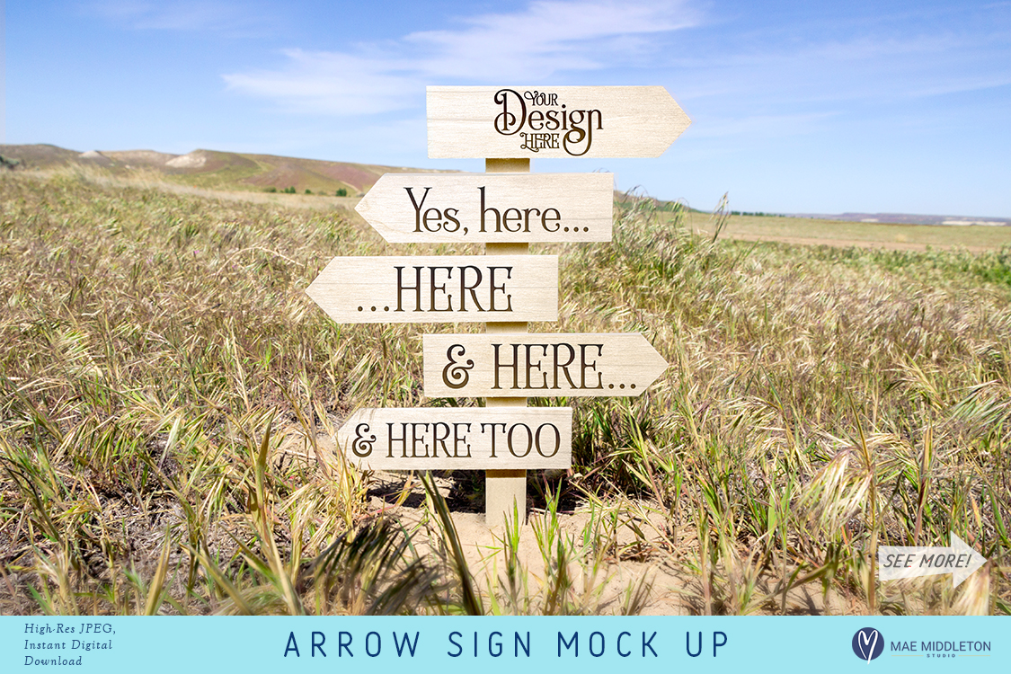Arrow sign Mock up, styled photo example image 1