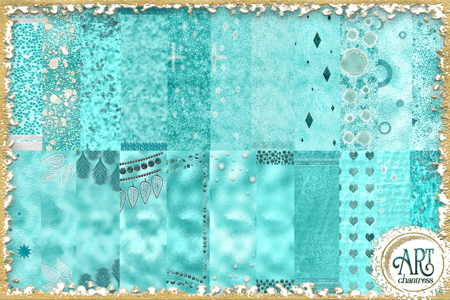 Teal Aqua Foil Glitter Seamless Digital Papers,Borders Set example image 2