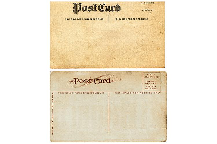 2 Blank Antique Postcards Old Vintage Paper Sublimation PNG example image 2