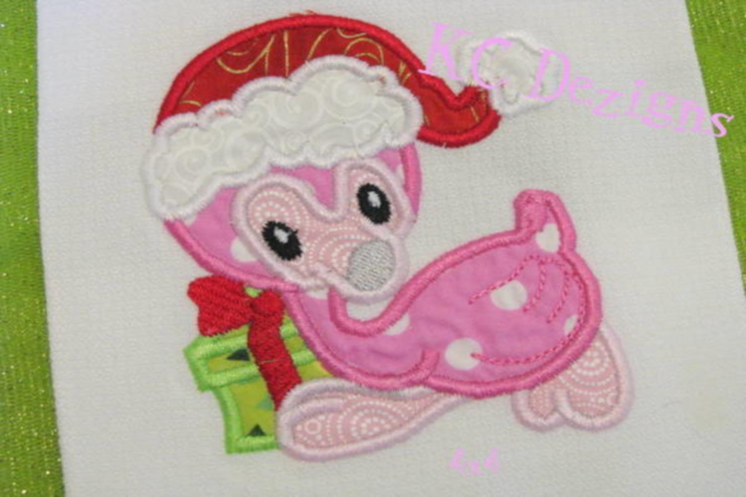 Christmas Baby Flamingo Machine Applique Embroidery Design example image 3