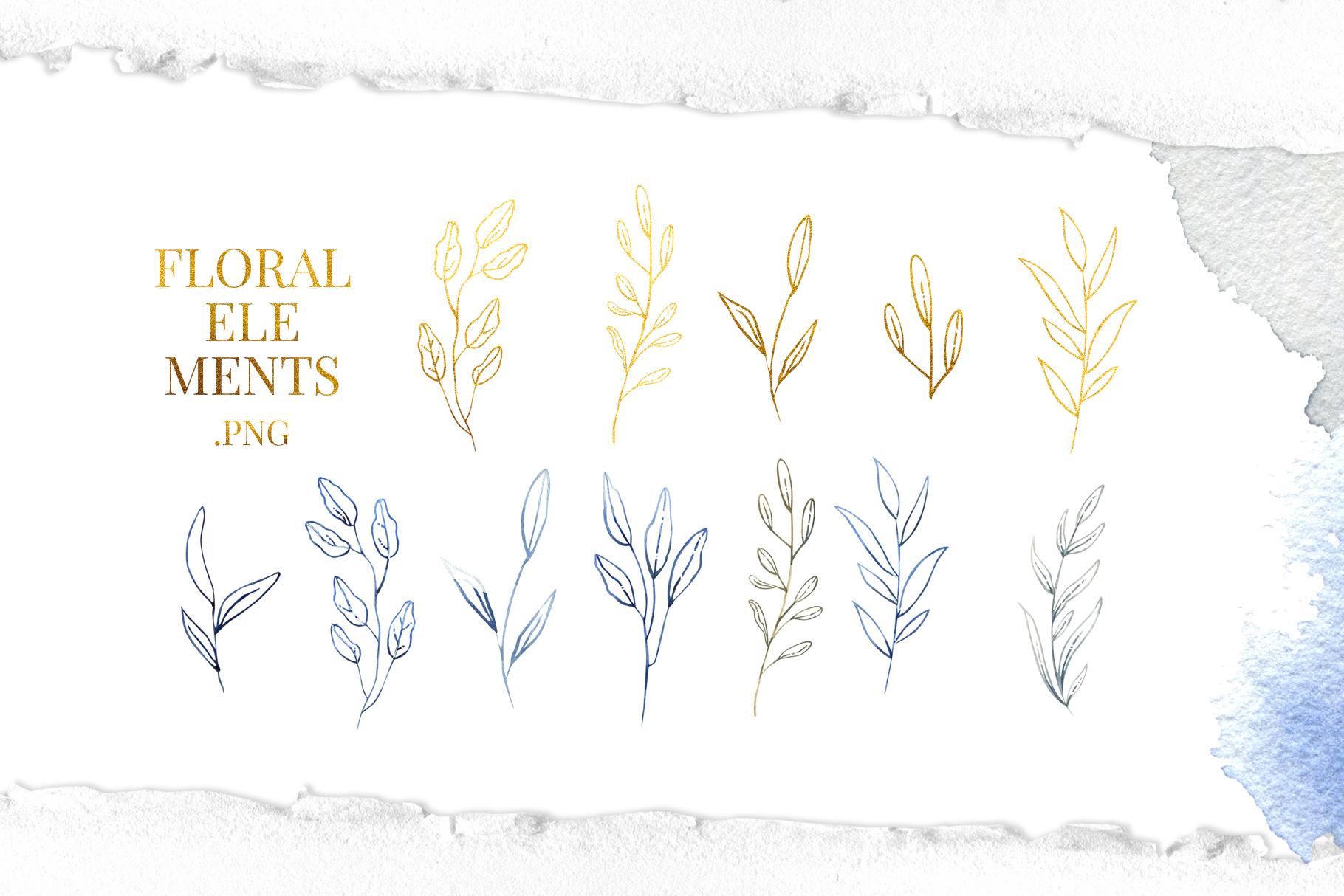 Deep Blue Alphabet Watercolor Design Kit example image 9