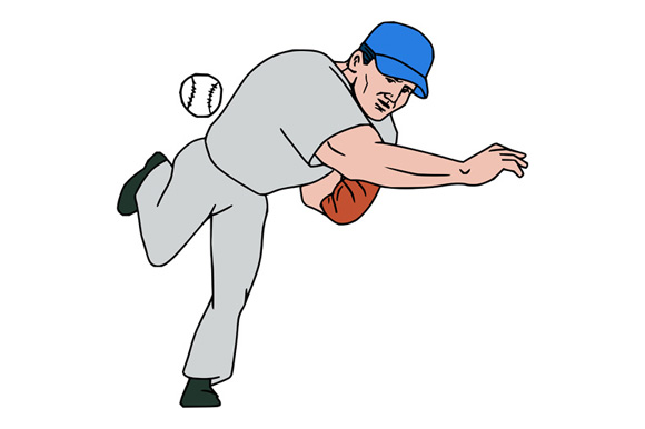 Baseball Player Pitcher Throw Ball Cartoon example image 1