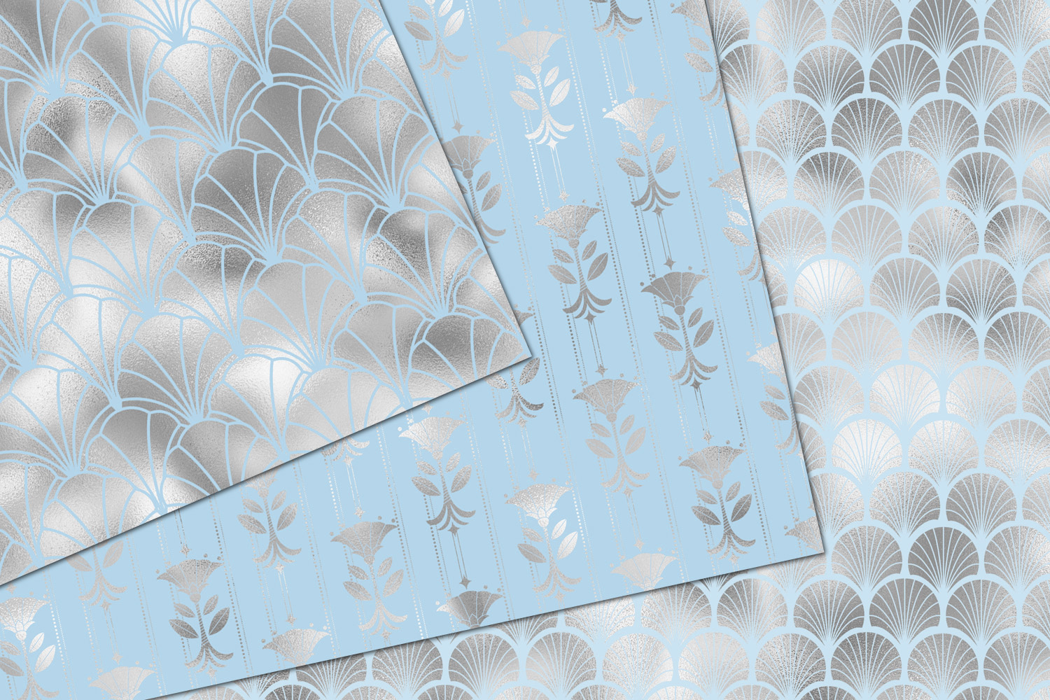 Blue and Silver Art Deco Digital Paper example image 4