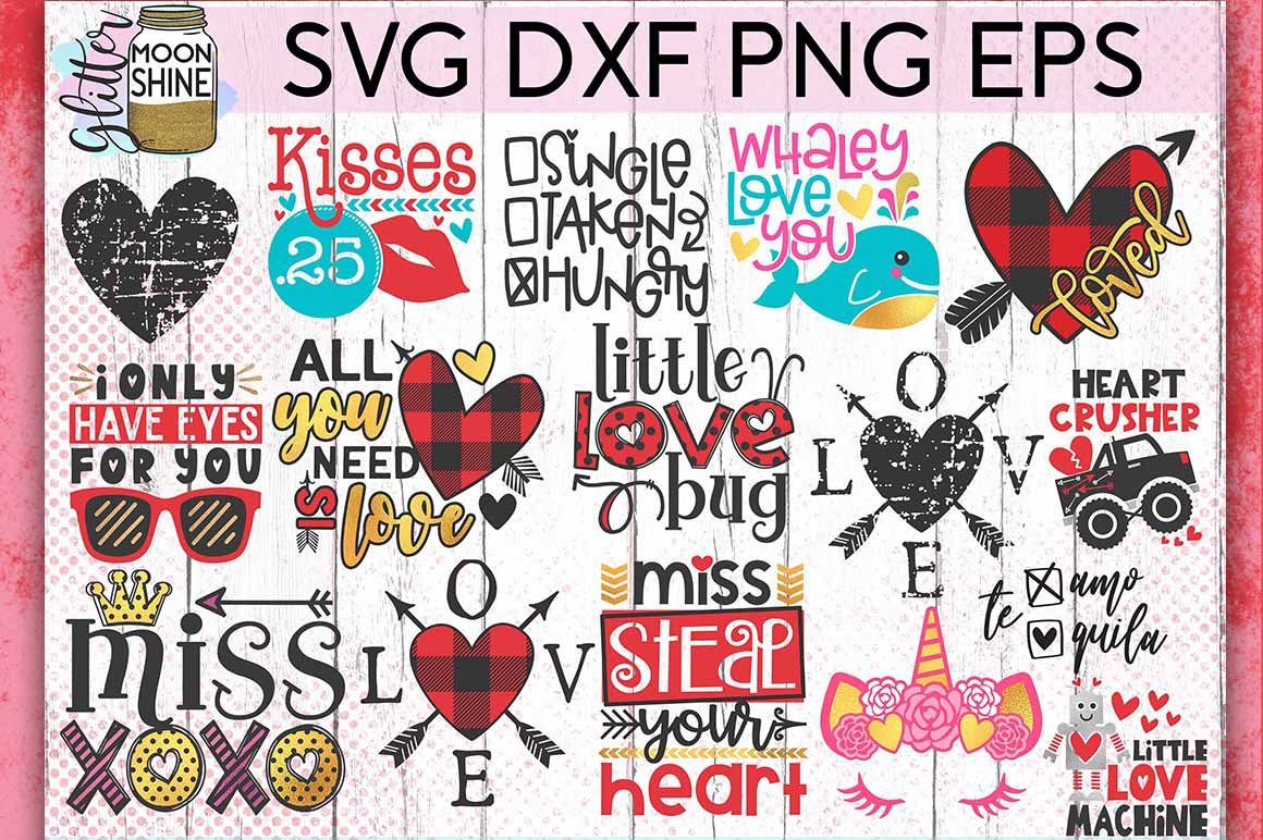 Valentine's Day Bundle Of 60 SVG DXF PNG EPS Cutting Files example image 4