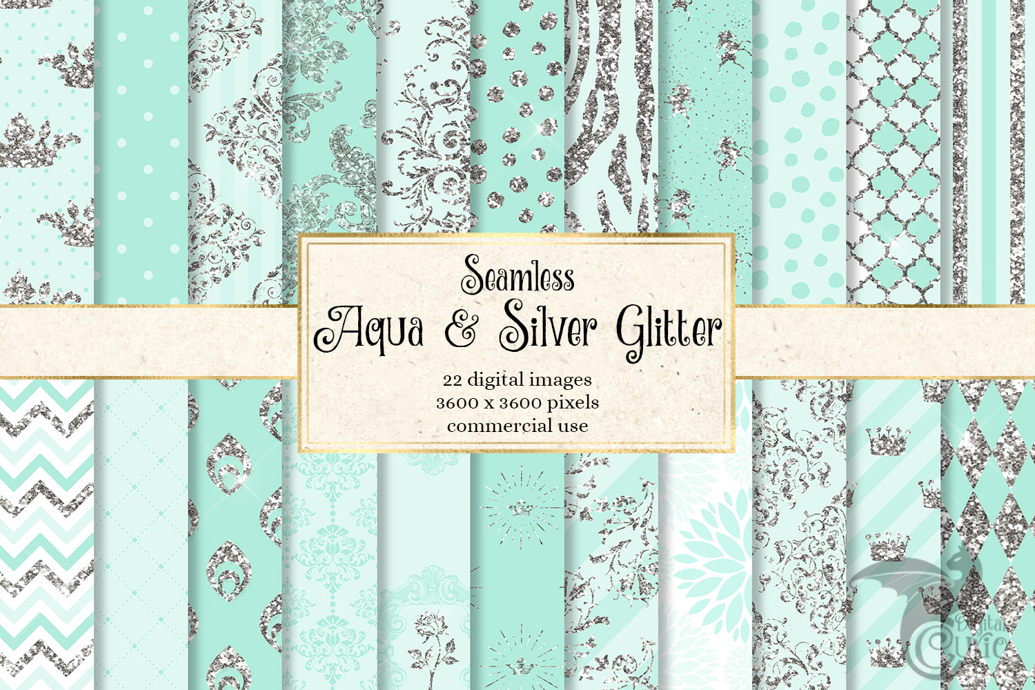 Aqua and Silver Glitter Digital Paper example image 1
