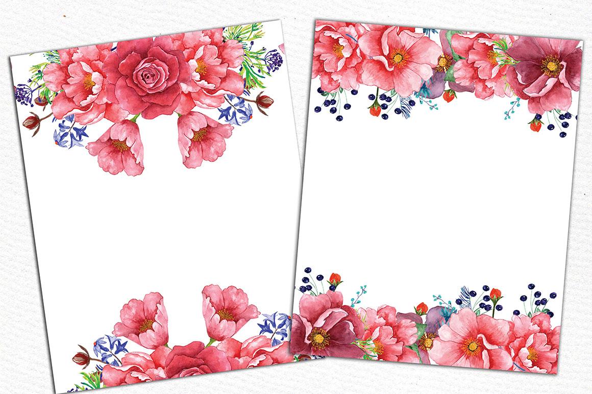 Watercolor peonies clip art example image 4