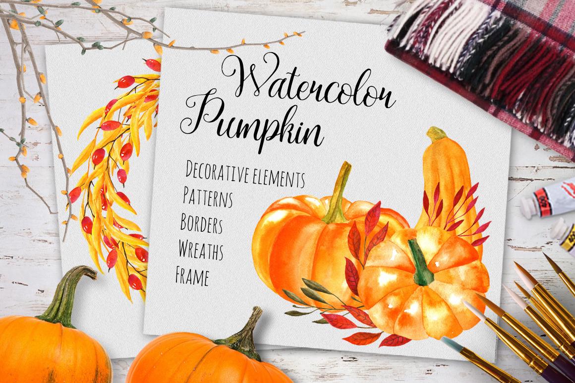 Watercolor pumpkin example image 1