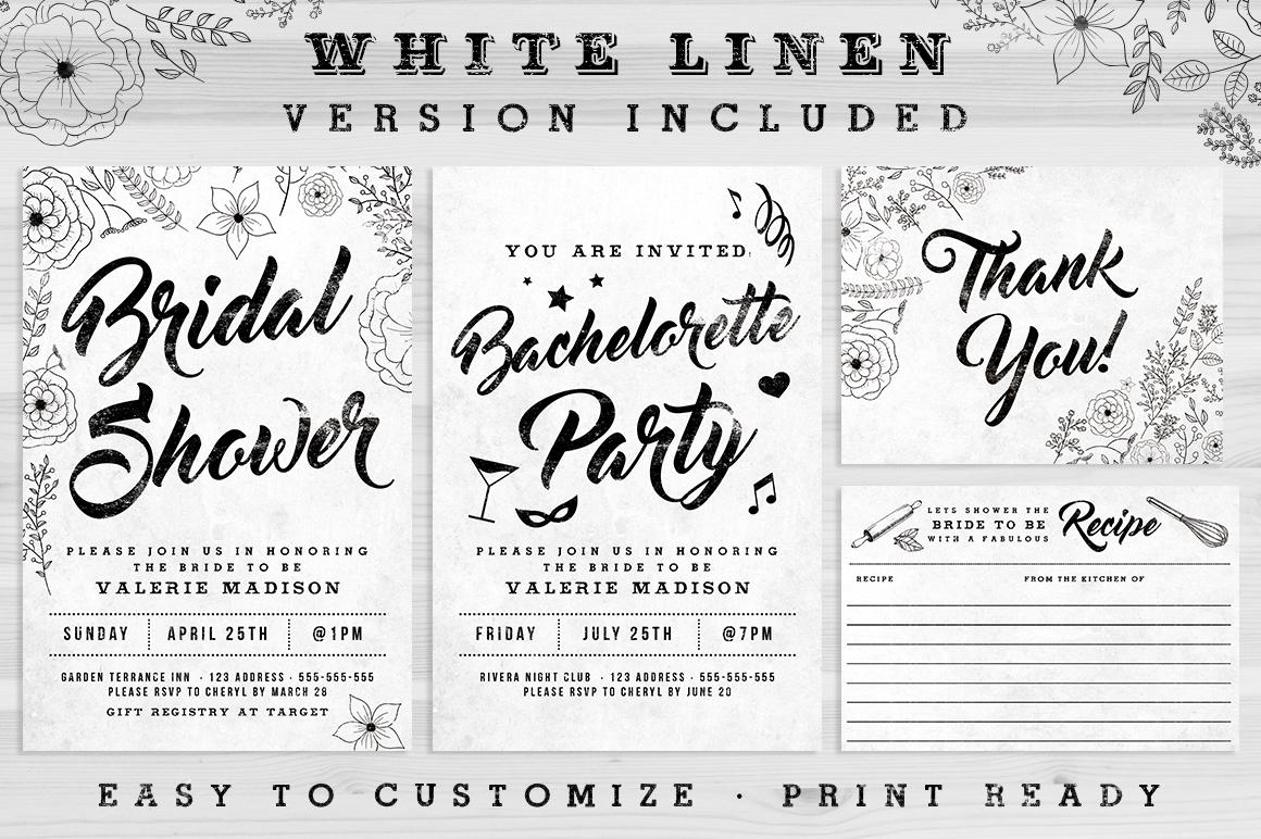 Chalk Bridal Shower Invite Bundle example image 2