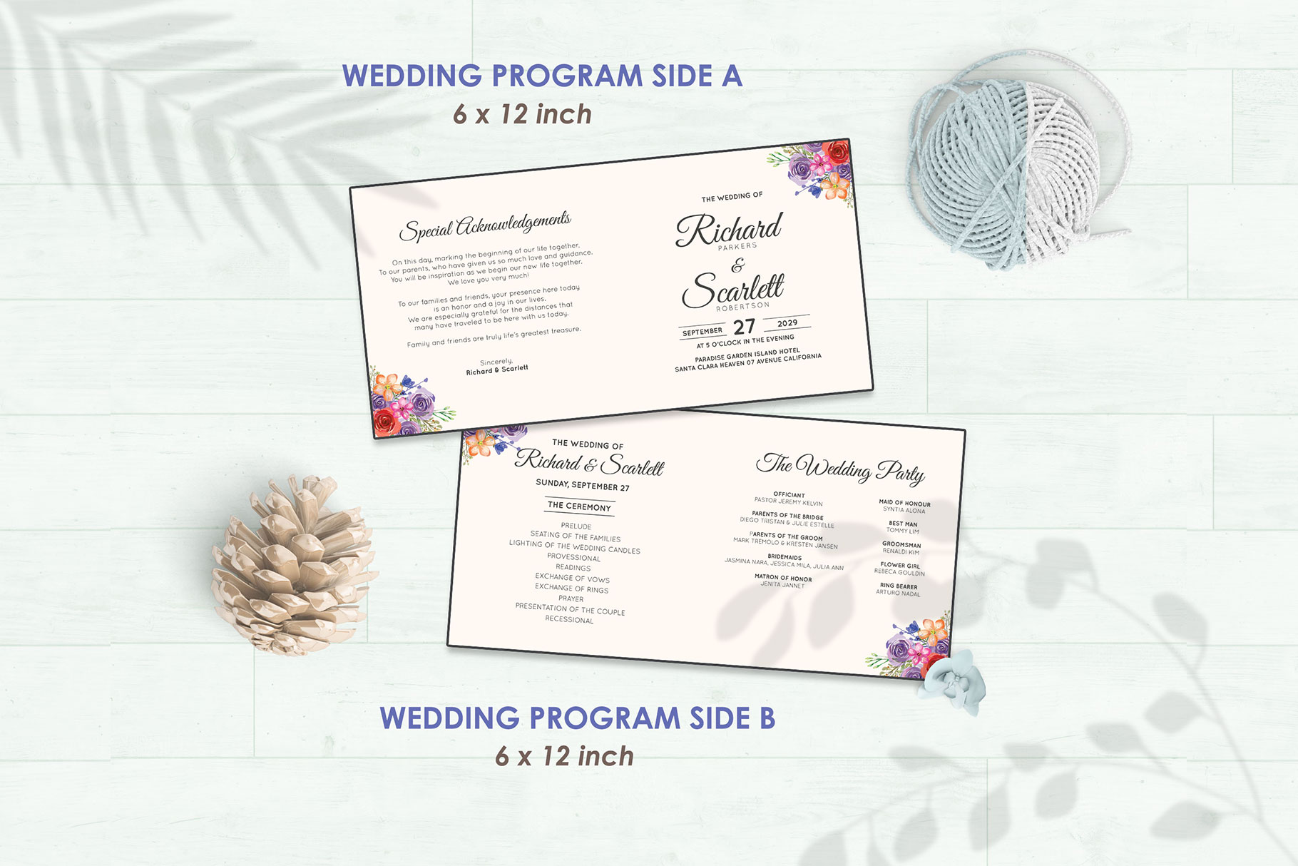 Wedding Invitation Set #10 Watercolor Floral Flower Style example image 5