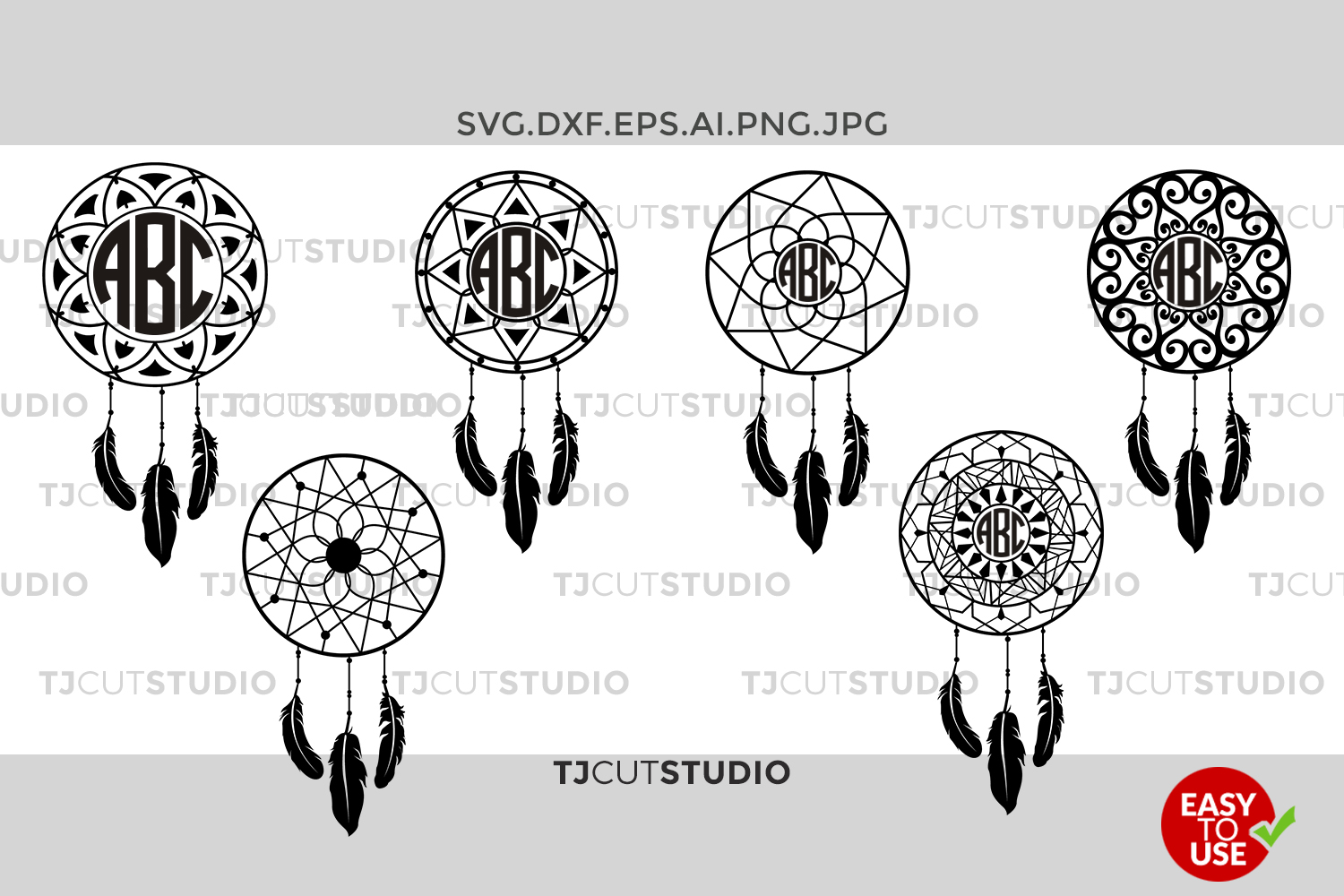 Dream Catcher svg, Dreamcatcher, Dreamcatcher svg, Boho svg, Mandala Dream svg,for Silhouette Cameo or Cricut Commercial & Personal Use. example image 1