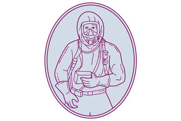 Worker Haz Chem Suit Oval Mono Line example image 1