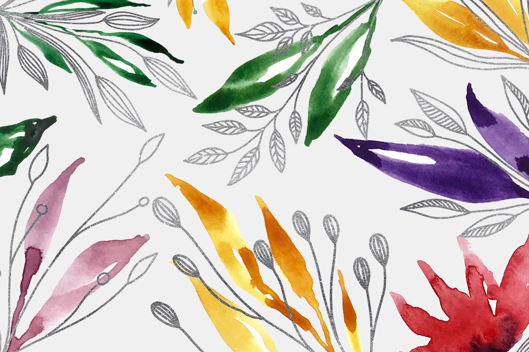 Floral Crests - Red, Purple, Yellow, Green Floral Clip Art example image 4