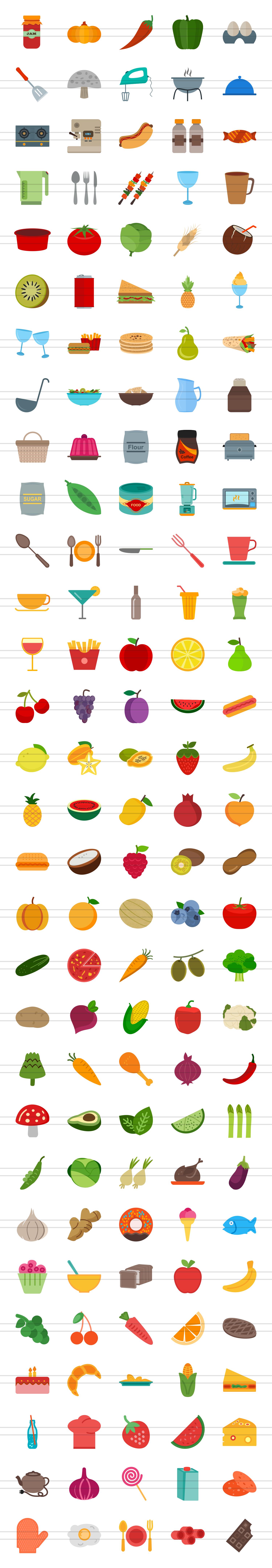 150 Natural Food Flat Icons example image 2