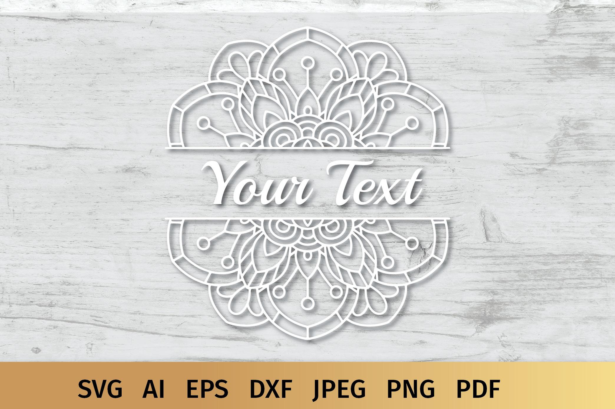 Split Mandala Monogram SVG example image 3