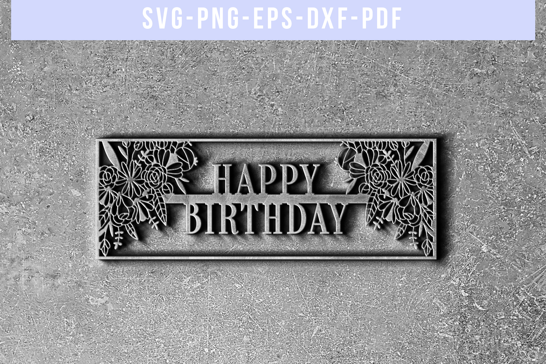 Happy Birthday Papercut Template, Birthday Frame SVG PDF DXF example image 5