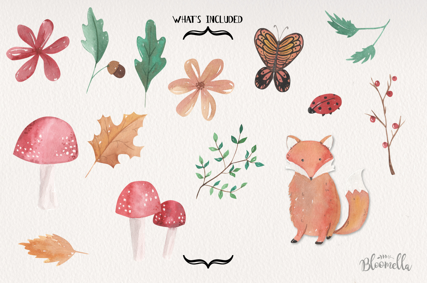 Woodland Fox Watercolor 14 Elements Woods Forrest Leaves example image 3